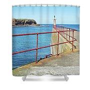 Eyemouth Harbour Pier Entrance Shower Curtain
