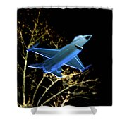 F 16 Lit Up At Night On Glass Monument Shower Curtain