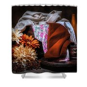 Fabric And Flowers Shower Curtain
