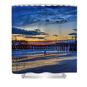 Fading To The Blue Hour - Ferris Wheel Shower Curtain