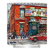 Fairmount Bagel Bakery Laneway Hockey Art Depanneur Winter Scenes C Spandau Montreal Landmark Stores Shower Curtain