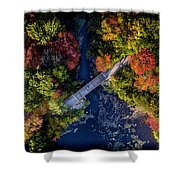 Fall Aerial With Bridge Shower Curtain