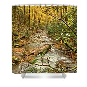 Fall Mountain River Shower Curtain by Meta Gatschenberger