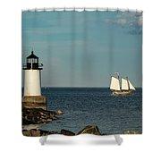 Fame Sailing Into Salem Harbor Shower Curtain by Jeff Folger