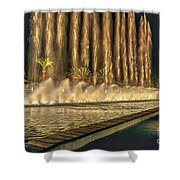 Fantacy Fountain Night Lit San Pedro Gateway Shower Curtain