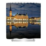 Fantastic Stockholm City Hall And Gamla Stan Reflection With Clouds Shower Curtain