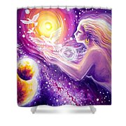 Fantasy Painting About The Flight Of A Dream In The Universe Shower Curtain