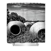 Feed Me - Black And White Shower Curtain