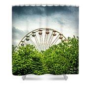 Ferris Wheel Behind Trees Shower Curtain