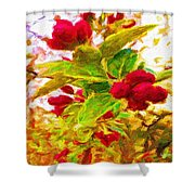 Festive Red Berries On Dancing Green Leaves Shower Curtain