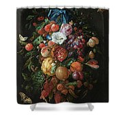 Festoon Of Fruit And Flowers, 1670 Shower Curtain