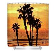 Fiery California Sunset Oceanside Beach Shower Curtain