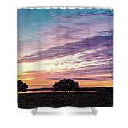Fiery Sunset Over Canyon Lake - Comal County - Central Texas Hill Country Shower Curtain