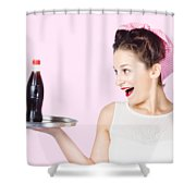 Fifties Style Female Waiter Serving Up Soda Shower Curtain