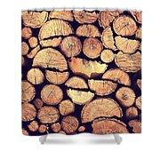 Firewood Logs Shower Curtain