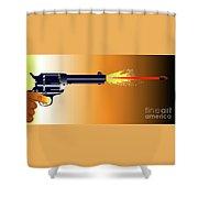 Firing Revolver Shower Curtain