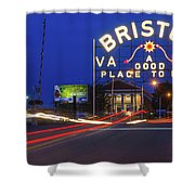 First Night Of The Bristol Sign With New Led Bulbs Shower Curtain