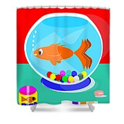 Fish Tank With Fish And Complete Kit Shower Curtain