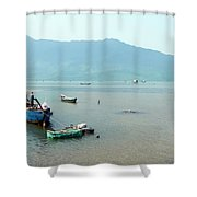Fisherman In Lang Co, Vietnam Shower Curtain