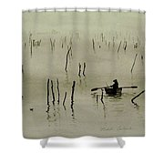 Fisherman In The Mist Shower Curtain