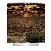 Fisherman On The Rocks Shower Curtain