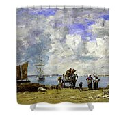Fishermens Wives At The Seaside - Digital Remastered Edition Shower Curtain