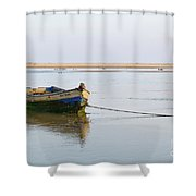 Fishing Boat Resting On The Low Tide Shower Curtain