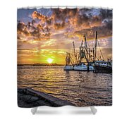 Fishing Boats II Shower Curtain by Tom Singleton