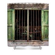 Fishing Village Window Shower Curtain by Tom Singleton
