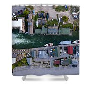 Fishtown Dam Panorama From Above Shower Curtain
