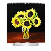 Five Sunflowers Shower Curtain