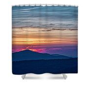 Flaming Sunset Shower Curtain by Meta Gatschenberger