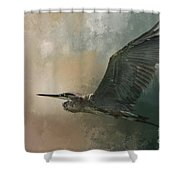 Flight Of The Great Blue Shower Curtain