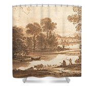 Floodplain With Watering Place  C  Shower Curtain