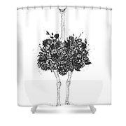 Floral Ostrich Shower Curtain
