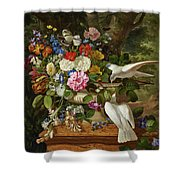 Flowers In A Vase With Two Doves Shower Curtain