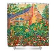 Flowery Backyard Shower Curtain