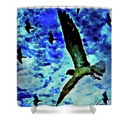 Flying Seagulls Shower Curtain