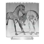 Foals Black And White Bleached Shower Curtain