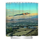 Fog Over Squaw Butte Shower Curtain