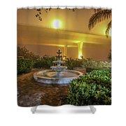 Foggy Fountain And Bridge Shower Curtain by Tom Claud