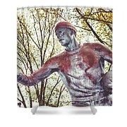 Football Statue - Rutgers University Shower Curtain