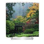 Footbridge In Japanese Garden Shower Curtain