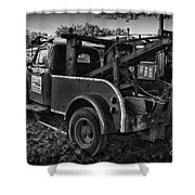 Ford F4 Tow The Truck Business End Black And White Shower Curtain