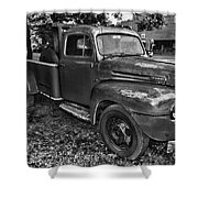 Ford F4 Tow The Truck Hook And Book Black And White Shower Curtain
