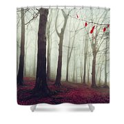 Forest In December Mist Shower Curtain