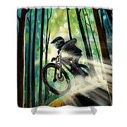 Forest Jump Mountain Biker Shower Curtain by Sassan Filsoof