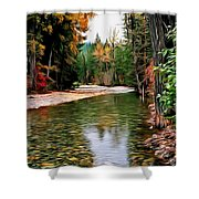 Forest With River Shower Curtain