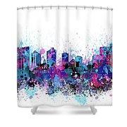 Fort Worth Skyline Color Splatter Shower Curtain