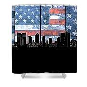 Fort Worth Skyline Flag 3 Shower Curtain